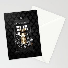 Tardis With Black Pattern Stationery Cards