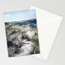 Cold seashore grass Stationery Cards