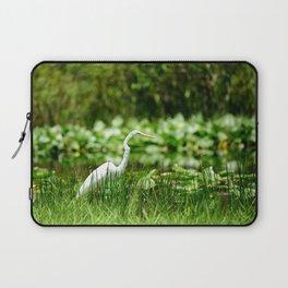 Great Egret in a Green Field Laptop Sleeve