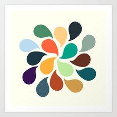 Colorful Water Drops Art Print