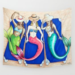 Sunbathing Mermaids Wall Tapestry