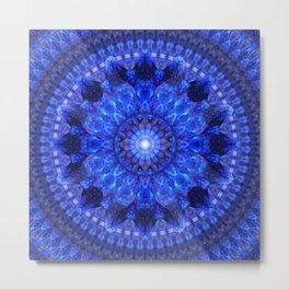 Azure Shield Mandala Metal Print
