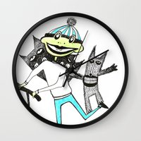 sport Wall Clocks featuring Sport frog by KRADA ZHAN ART