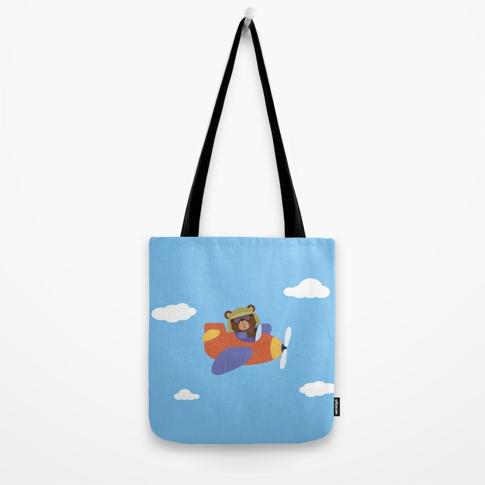 Bear in Airplane Tote Bag