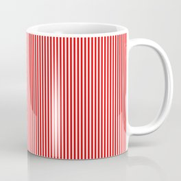 Thin Berry Red and White Rustic Vertical Sailor Stripes Coffee Mug
