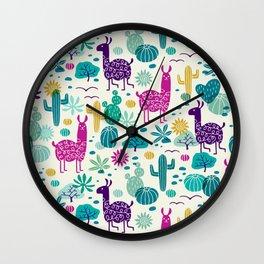 Llama desert turquoise/purple Wall Clock