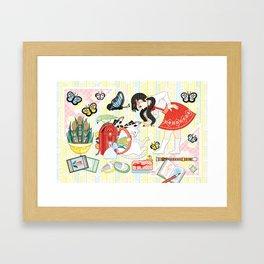 """April illustration """"Cat and school bag"""" (remake) Framed Art Print"""