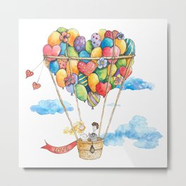 Love on the air balloon with hearts, flowers, clouds, bride and groom Metal Print