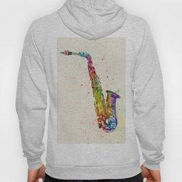 Saxophone Abstract Watercolor Hoody
