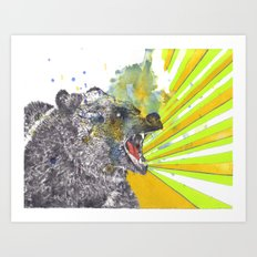 Roaring Bear Animal Watercolor Painting Art Print