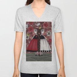 Snow-White and Rose-Red (1) Unisex V-Neck