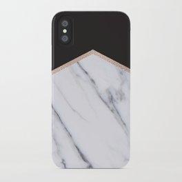 Gilded ebony and soft white marble iPhone Case