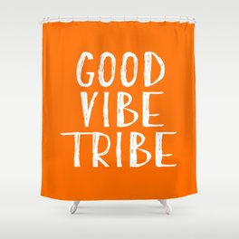 Good Vibe Tribe - Orange and White Shower Curtain
