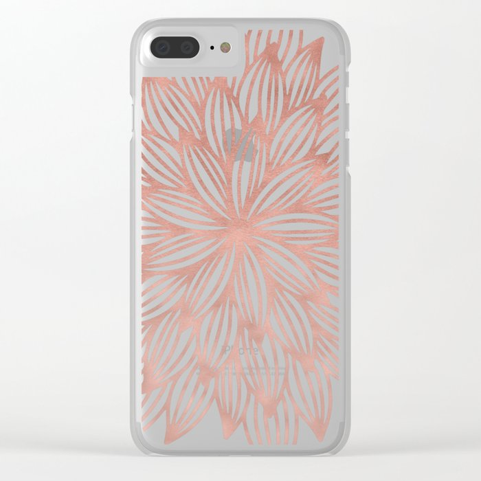 Mandala Flowery Rose Gold on Cream Clear iPhone Case