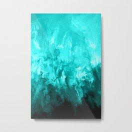 Teal - Fluid Abstract Art Metal Print