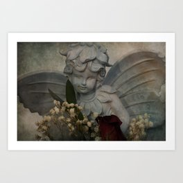 Angel and Rose Art Print