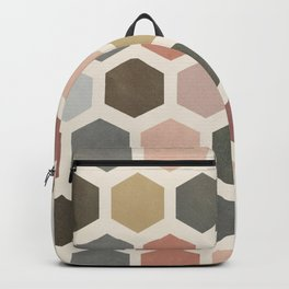 mod hive | organic honeycomb pattern in muted tones Backpack