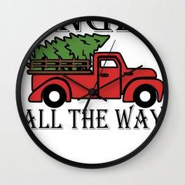 Jingle All the Way Christmas Tree Pickup Truck Vintage Christmas Wall Clock
