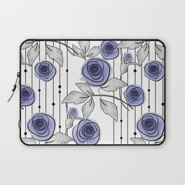 Blue Roses on striped background. Laptop Sleeve