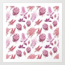 Beautiful Pink Australian Native Floral Pattern Art Print