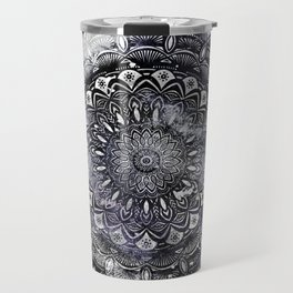 Galaxy Space Mandala (Black and White & Gray Scale) Mystical Adventurous Travel Mug