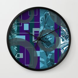 rectangles rings geometric turquoise violet Wall Clock