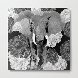 ELEPHANT AND CABBAGE ROSES IN BLACK AND WHITE Metal Print