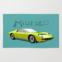 lamborghini Area & Throw Rugs featuring Lamborghini Miura, car by Luca Olivotto