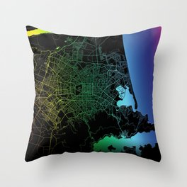 Christchurch, New Zealand, City, Map, Rainbow, Map, Art, Print Throw Pillow