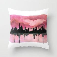 London Skyline 2 Pink Throw Pillow