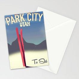 Park City Utah ski travel poster Stationery Cards