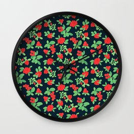 Lingonberry (on Navy) Wall Clock