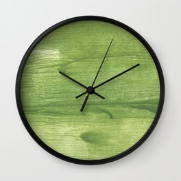 Green leafi stained watercolor pattern Wall Clock