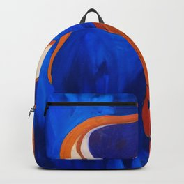 Abstract Blue and Orange Bird Backpack