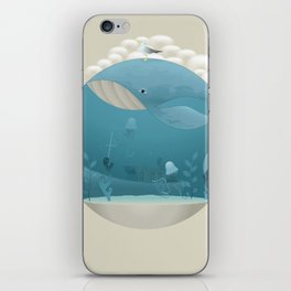 Seagull rest over whale iPhone Skin
