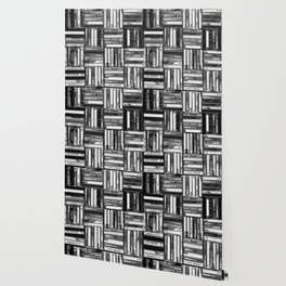 Music Cassette Stacks - Black and White - Something Nostalgic IV #decor #society6 #buyart Wallpaper