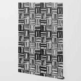Music Cassette Stacks - Black and White - Something Nostalgic IV #decor #society6 #buyart Wallpaper
