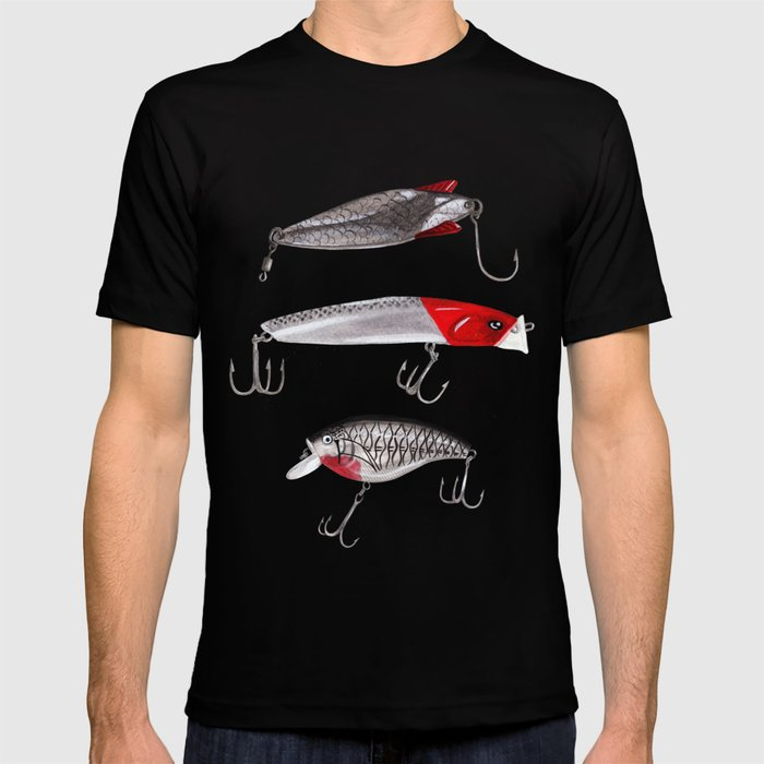 Red and Silver Fishing Lures T-shirt