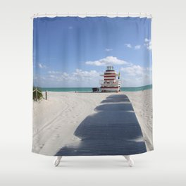 Lifeguard Station at South Beach Miami Shower Curtain
