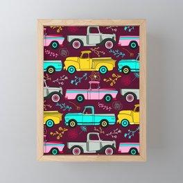 Floral Vintage Trucks Framed Mini Art Print