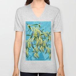 Beautiful Australian Wattle blooms against a textured blue background Unisex V-Neck