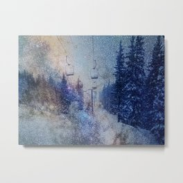 Chairlift into the Universe // Milky Way Galaxy Snowboarding Snow Nebula Stars Mixed Media Popart Metal Print