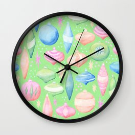 Retro Christmas Ornaments Green Background Wall Clock