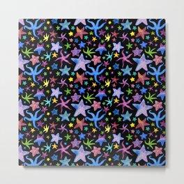 Rainbow Watercolor Starfish Pattern Metal Print