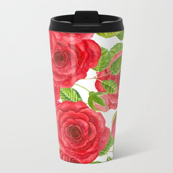 Red watercolor roses with leaves and buds pattern Metal Travel Mug