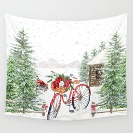 Winter Bicycle Wall Tapestry