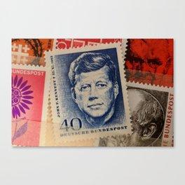 Vintage Stamps (JFK) Canvas Print