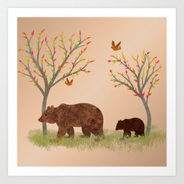 Walk In The Woods With Mama Bear Art Print