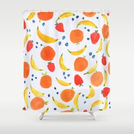 Fruit Pattern with Bananas Strawberries Blueberries Oranges Tropical Summer Florida Sweet Fruits Shower Curtain