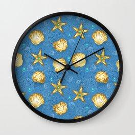 Blue seamless of gold seashells Wall Clock